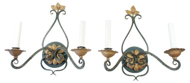 Gold & Green Sconces, Pair