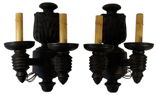 Wooden 2-Arm Sconces, Pair