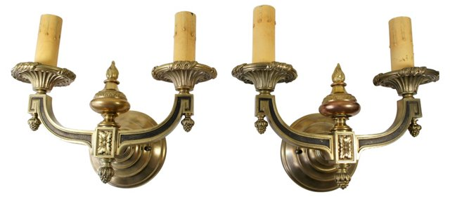 Two-Armed Brass Sconces, Pair