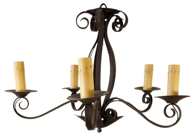 Brown Iron Scroll Chandelier