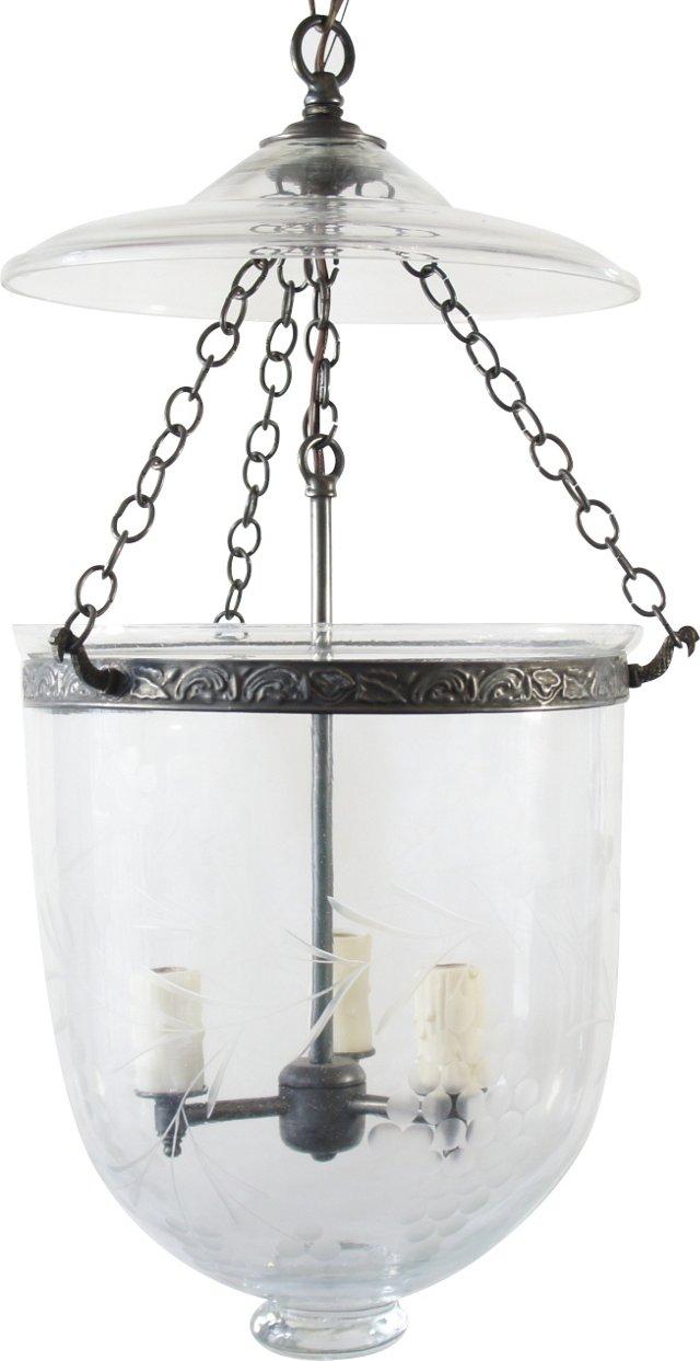 Grape Etched Bell Jar Pendant