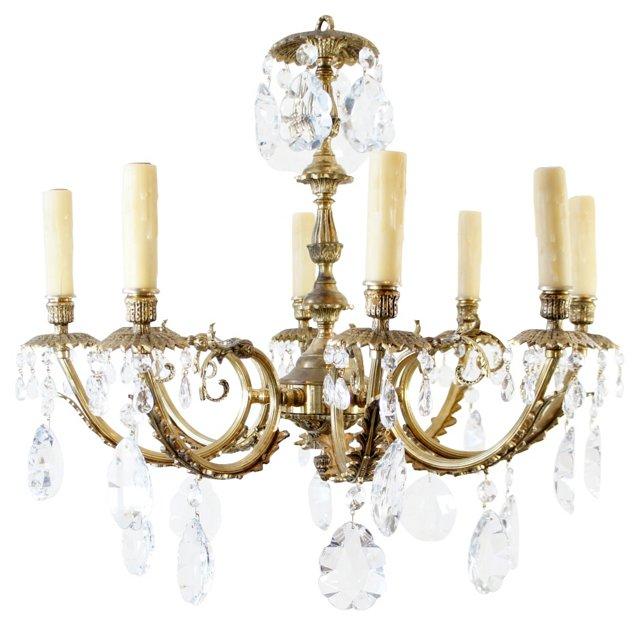 8-Light Brass Chandelier
