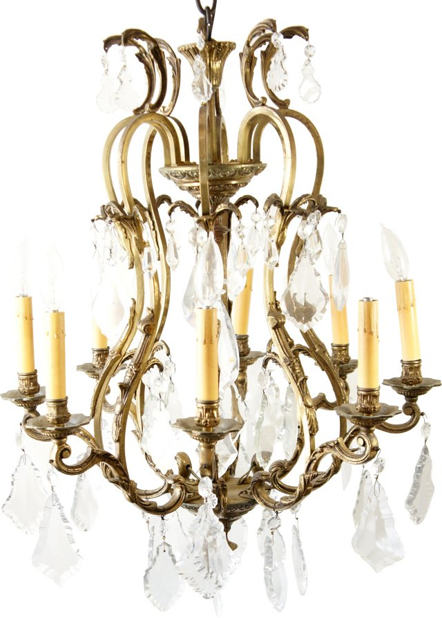 Brass 8 Light Chandelier w/ Crystals