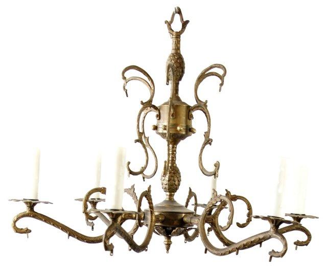 Antiqued Brass Chandelier