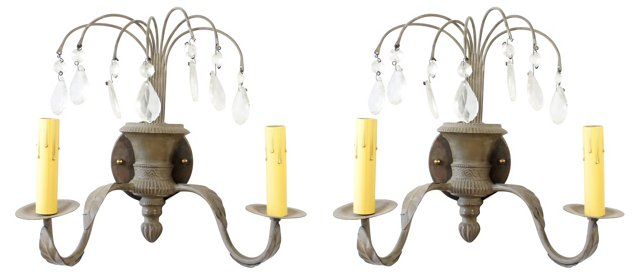 Gray 2 Light Sconces, Pair