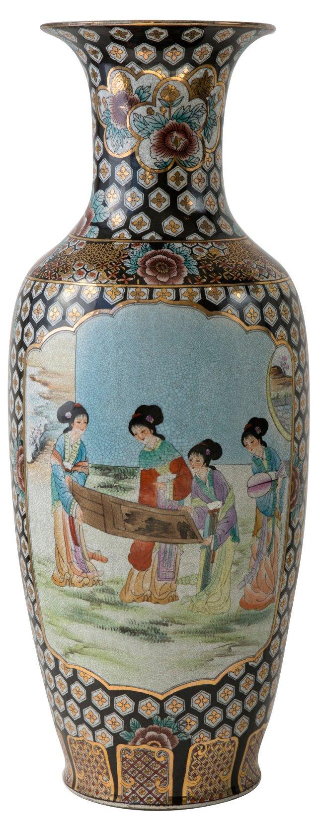 Monumental Chinese Two-Panel Floor Vase