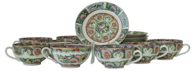 Chinese Famille Rose Cups & Saucers, S/8