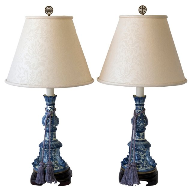 French Candlestick Dolphin Lamps, Pair