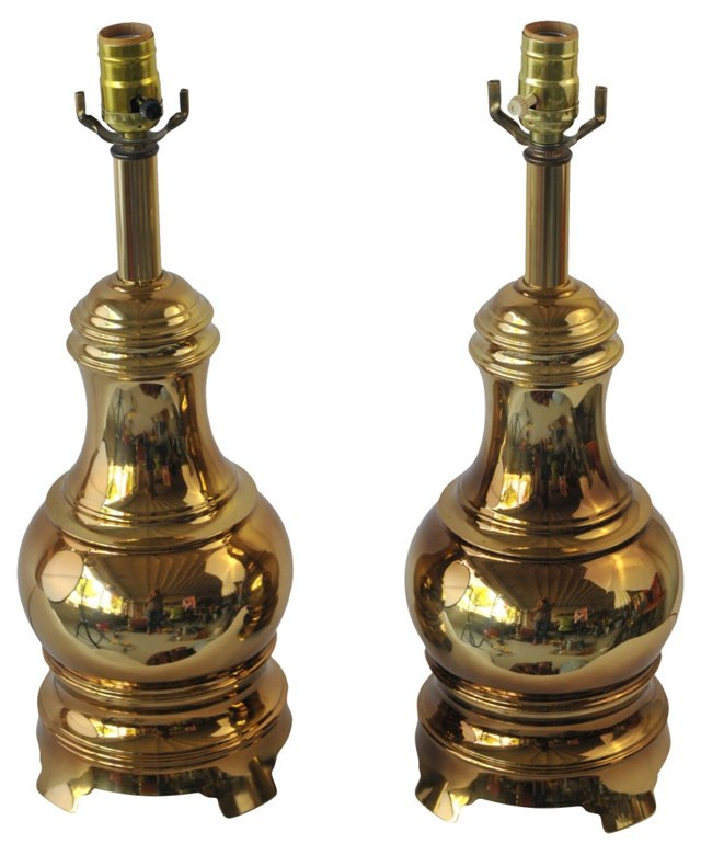 Stiffel Brass Lamps, Pair