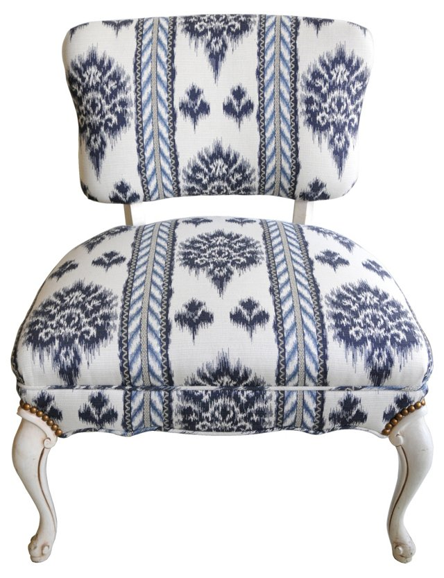 Ikat Slipper Chair w/ Nailhead Trim