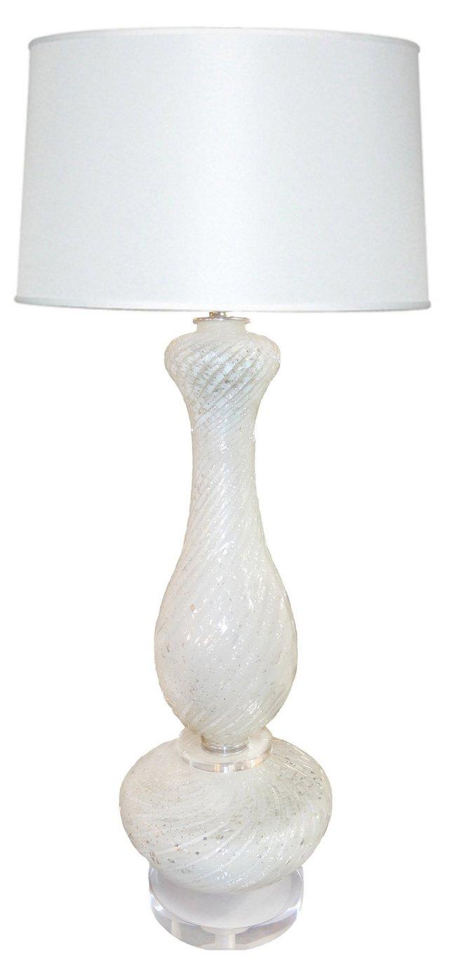 Murano White & Silver Lamp