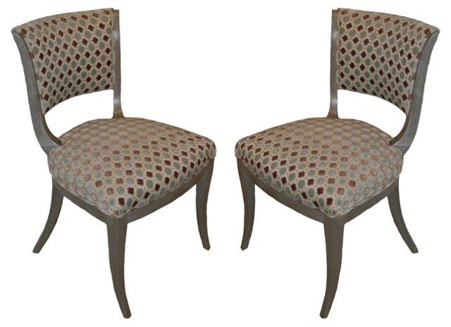 1920s Art Deco Bridge Chairs, Pair