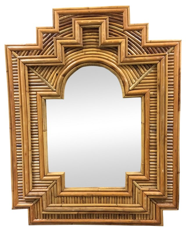 1970s Geometric Rattan Mirror
