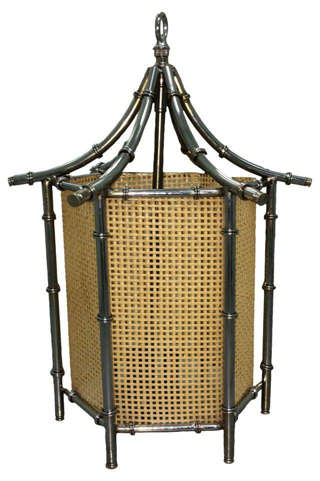 Chrome Bamboo-Style Pendant