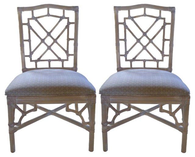Rattan Fretwork Side Chairs, Pair