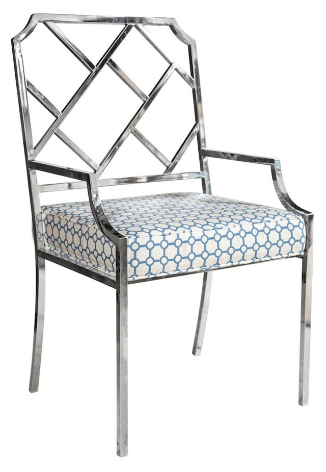 1970s Chrome Fretwork Chair