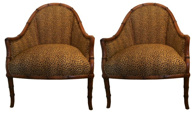 Faux-Bamboo Leopard Chairs, Pair