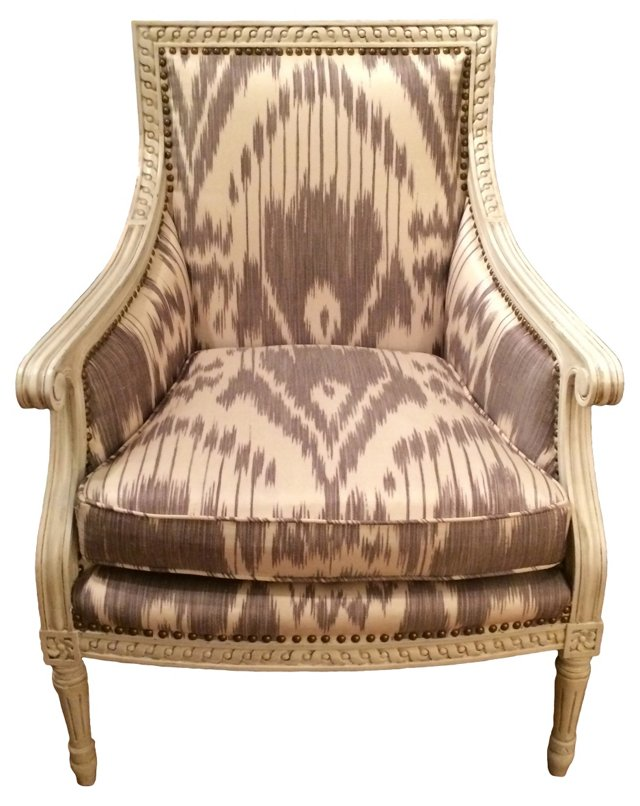 French Painted Ikat Armchair