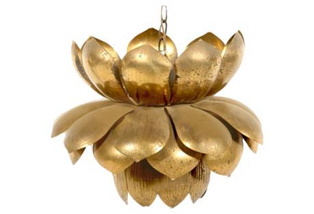 Feldman Large Brass Lotus Pendant