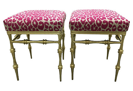 Gilt Metal Pink Leopard Benches, S/2