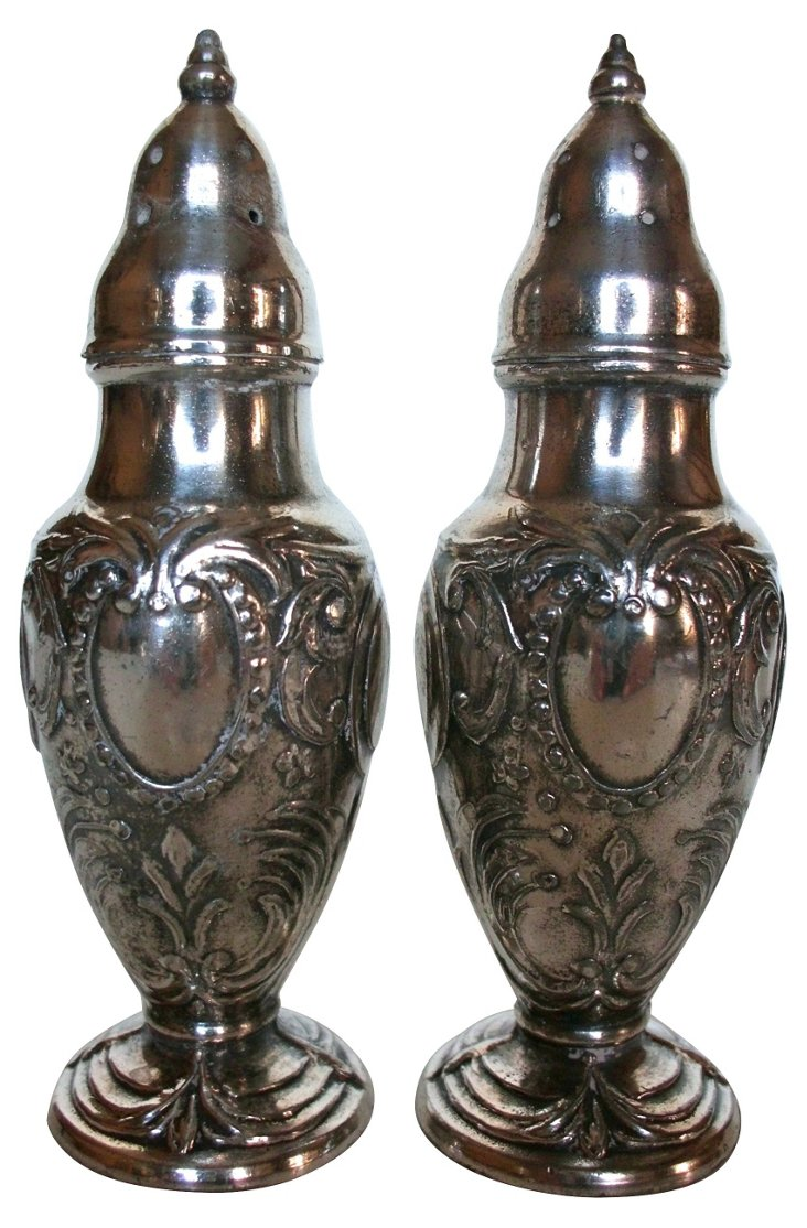 English Silverplate Shakers, Pair