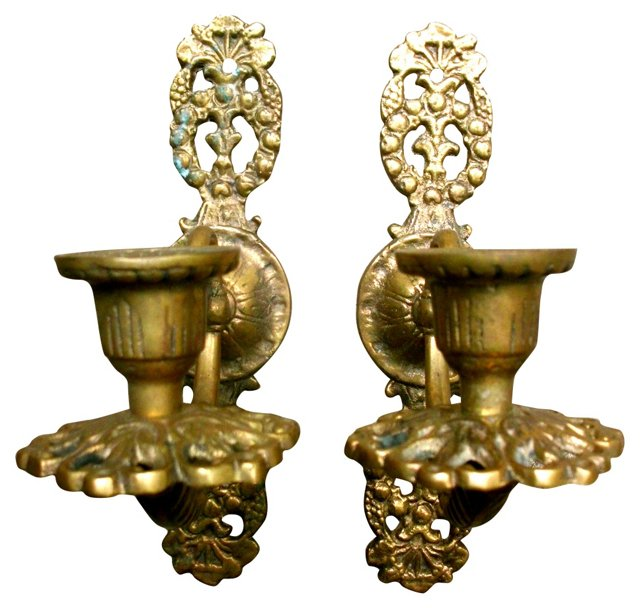Brass   Sconces, Pair