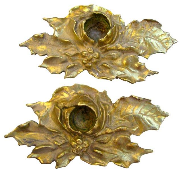 Brass Leaf Candleholders, Pair
