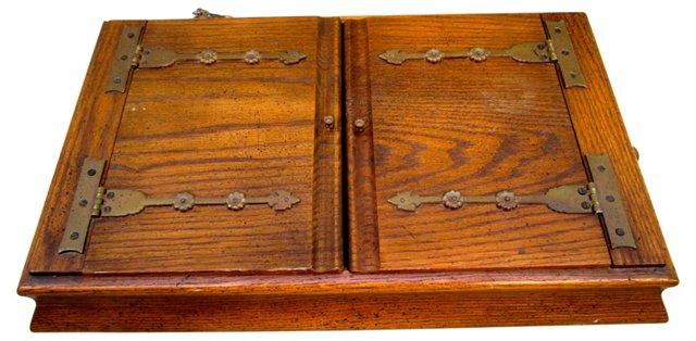 English Oak & Brass Box