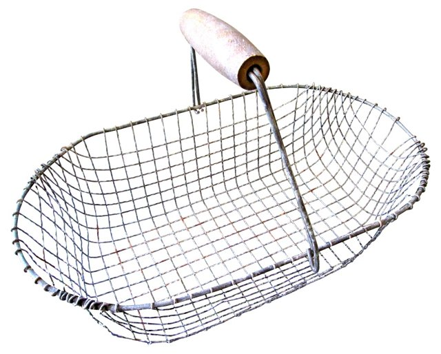 19th-C. French Oval Egg Basket