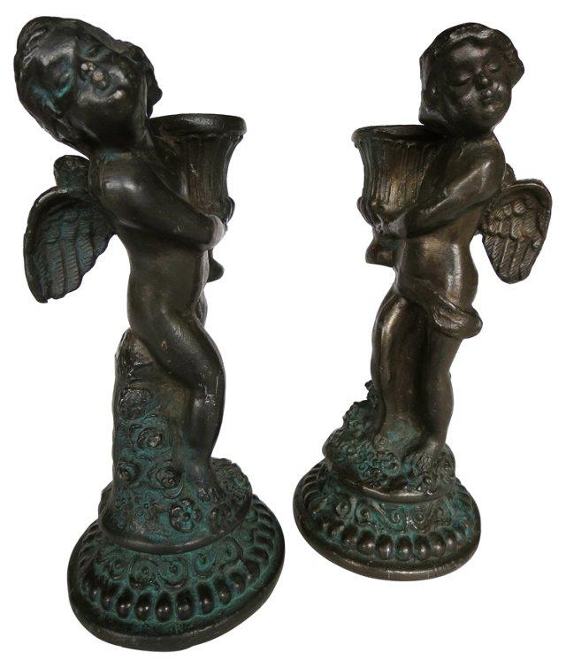 Iron Cherub Candleholders, Pair