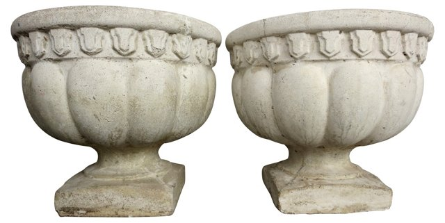 French Concrete Planters, Pair