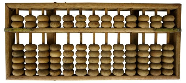 Chinese Wood & Brass Abacus
