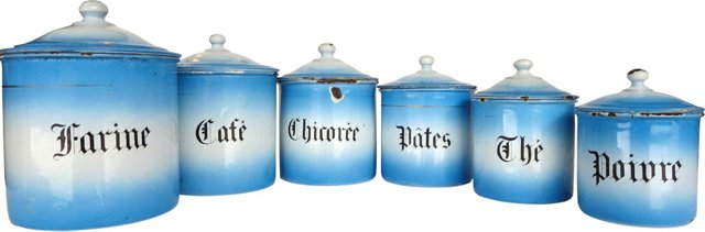 French Enamel   Canisters, S/6