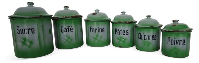 French Green & Gray Canisters, S/6