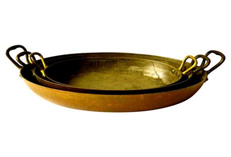 Antique French Copper Gratin Pans, S/3