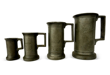French Pewter Tavern Measures, S/4