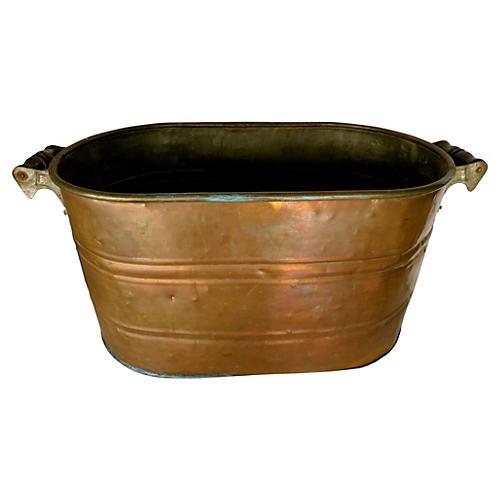 19th-C. English Copper Wash Tub