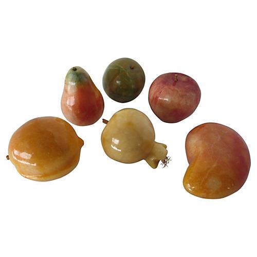 Alabaster Tropical Fruit, S/6