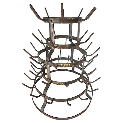 French Vintner's Iron Bottle Rack