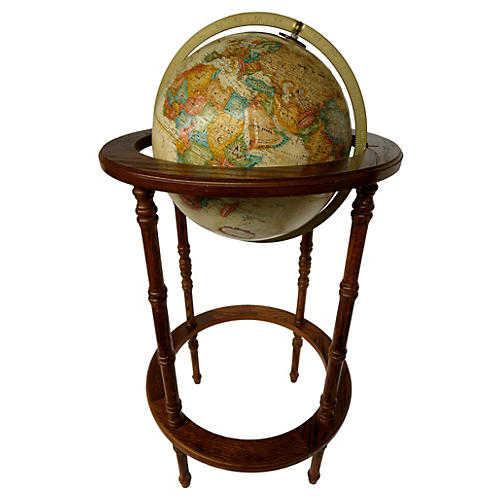 World Globe w/ Wood Stand