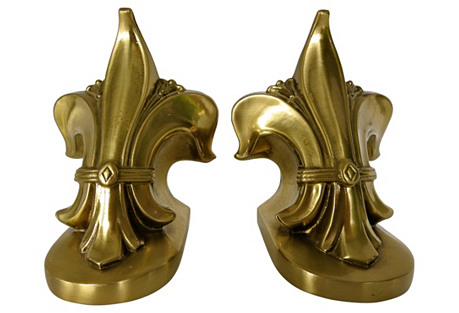 French Brass Fleur-de-Lis Bookends