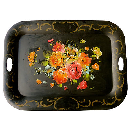 Large French Black Floral Tole Tray