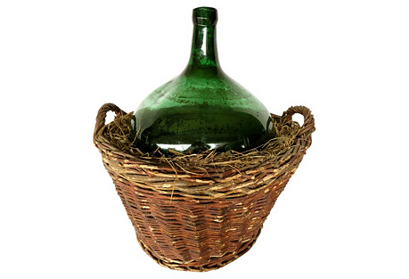 French Vintner's Bottle w/ Basket