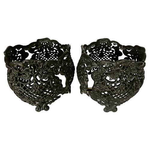 Black Cast Aluminum Garden Baskets, S/2