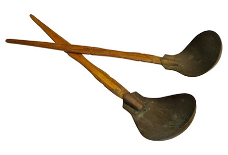 Antique French Cheese Makers Ladles, S/2