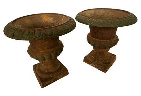 Antique French Garden Urns, Pair
