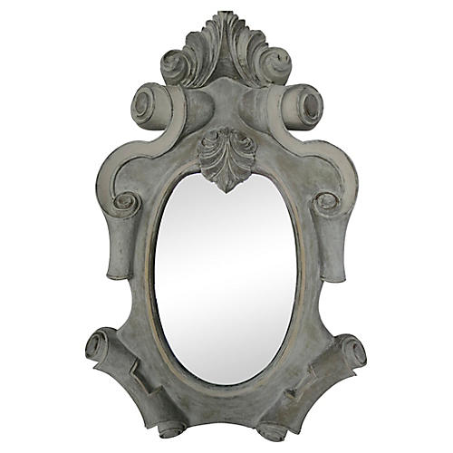 French Gray Painted Mirror