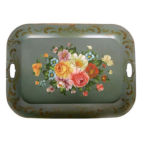 Large Floral Tole Tray