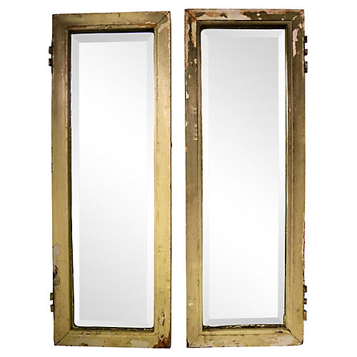 Beveled Mirror French Doors, Pair