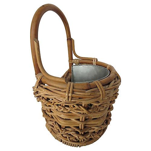 Zinc-Lined Wall Basket